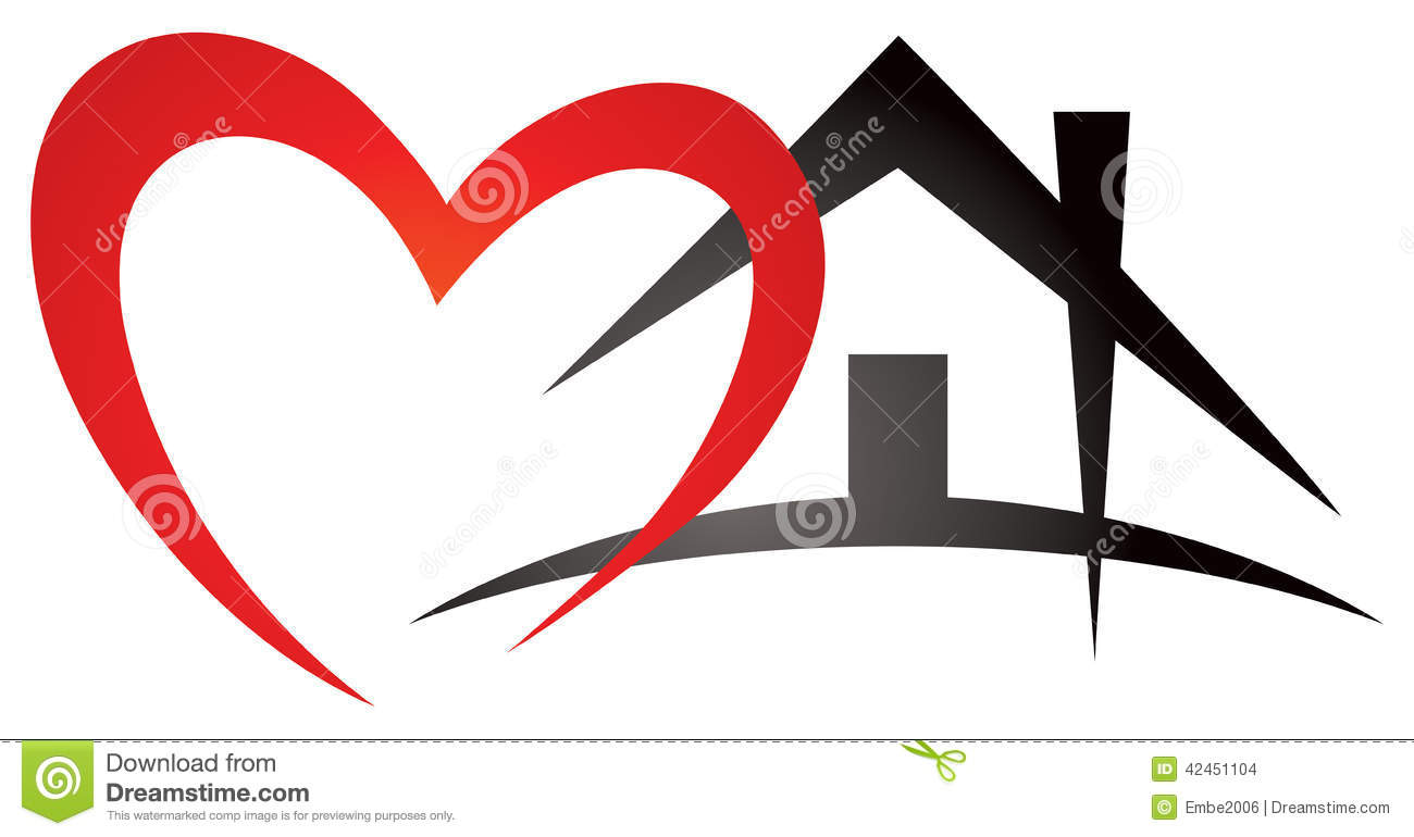 Icon Haus Heart House Logo Stock Vector Illustration Of House 42451104
