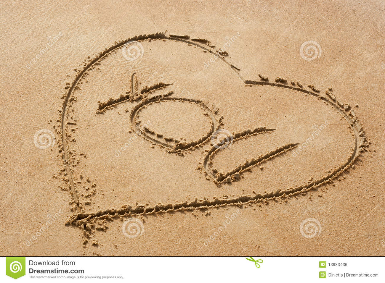 You- Heart Shape Symbol With The Word You On Sandy Beac Royalty