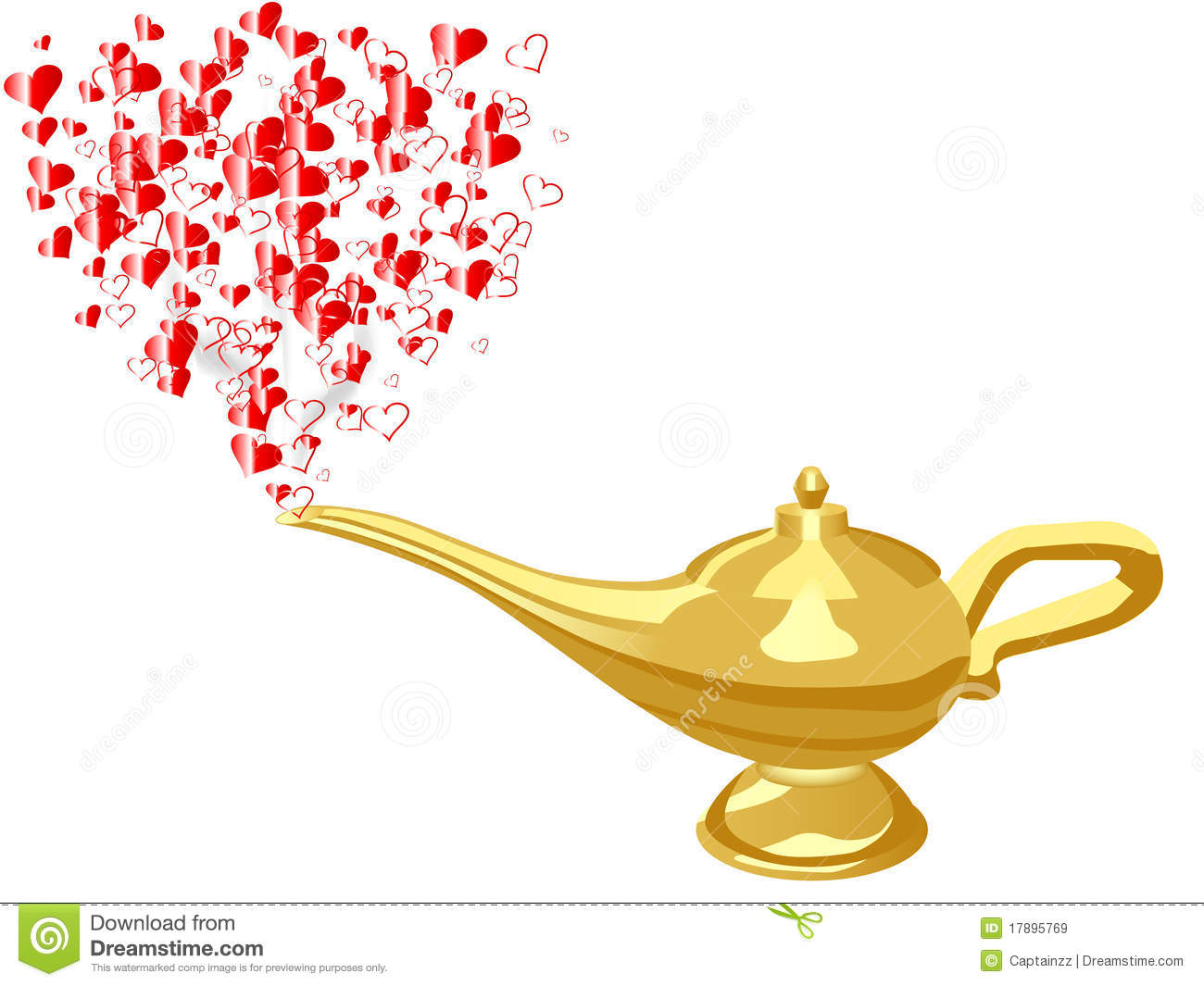 Glass Lamp Vector Royalty Free Stock Images: Hearts From Aladdin Lamp. Image