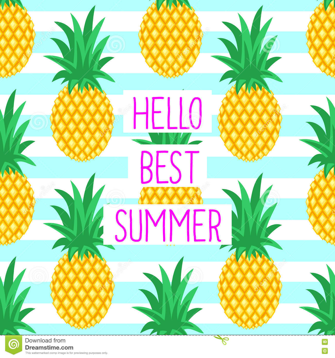 Really Cute Teal Teal Wallpaper Hello Best Summer Card With Cute Pineapples Stock Vector