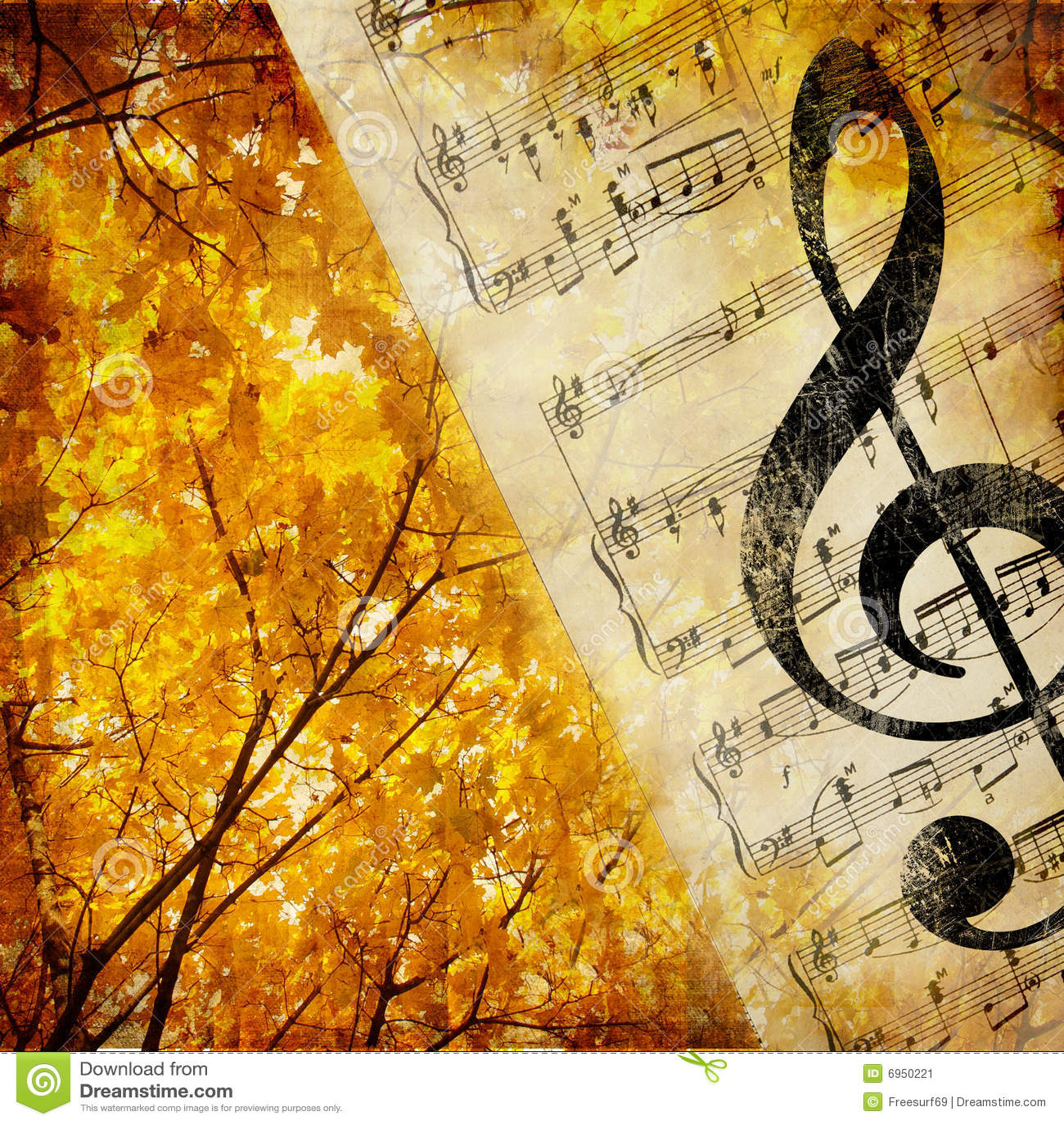 Fall Leaves Watercolor Wallpaper Herbstmusik Stockbild Bild 6950221