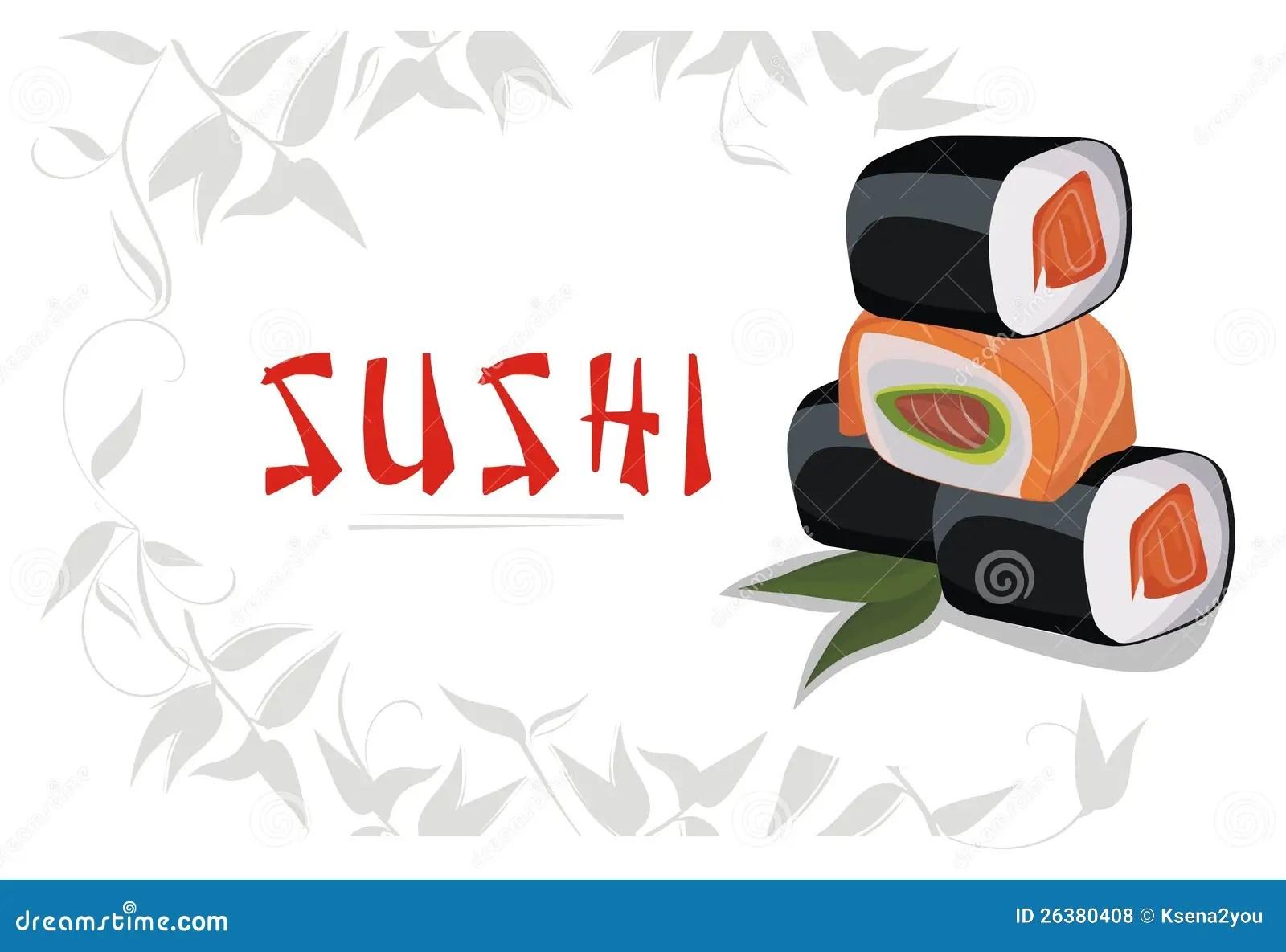 Cute Sushi Wallpaper Het Menu Van Sushi Vector Illustratie Illustratie