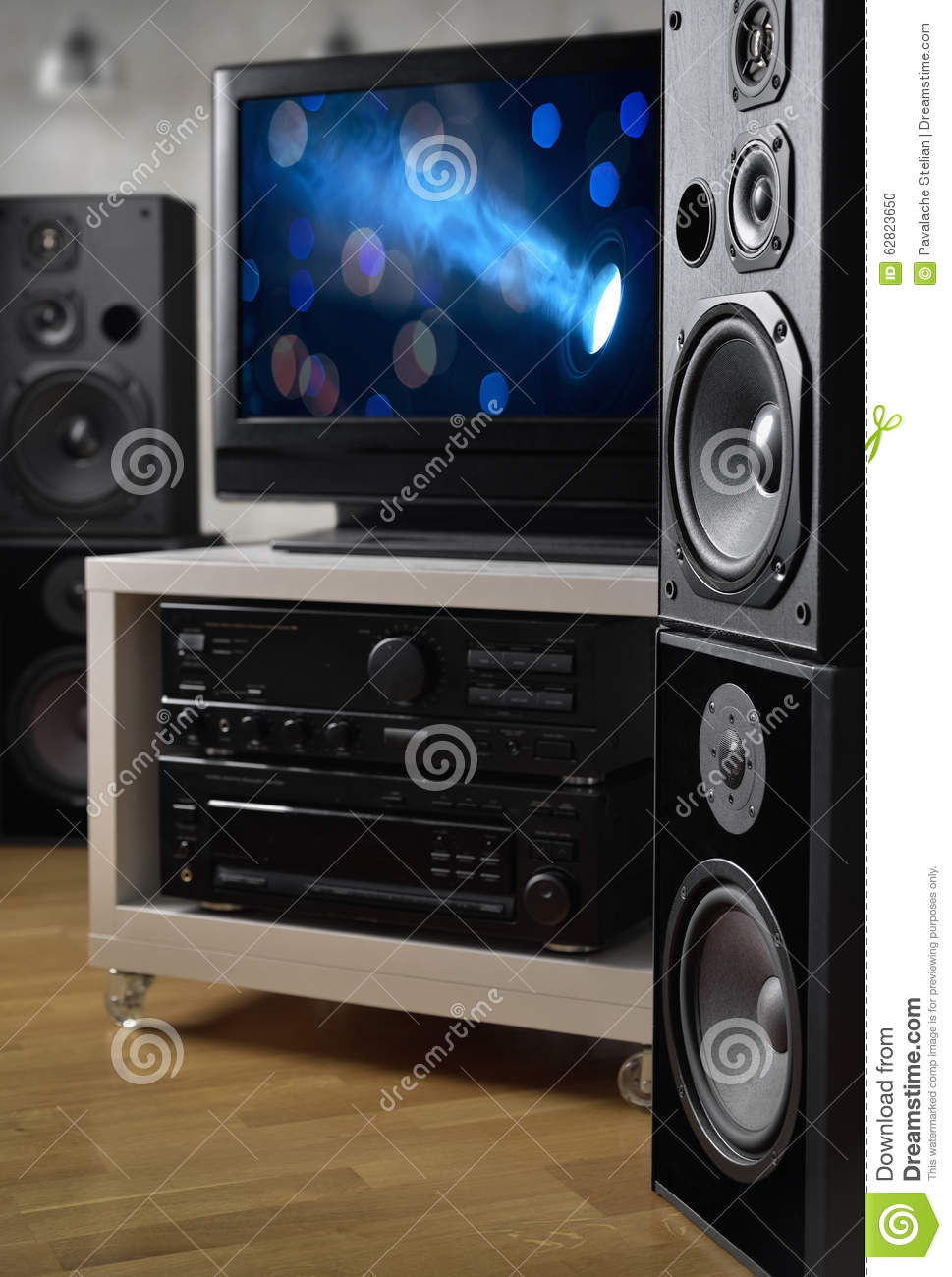 Hi Fi Tv Hi Fi System Speakers And Tv For Monitoring Video Production