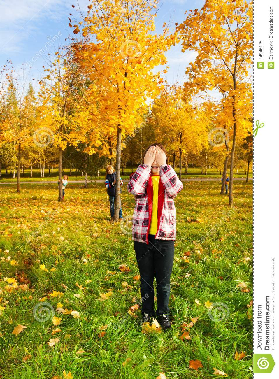 Hide And Seek Kids Hide And Seek Game In The Autumn Park Stock Image Image Of