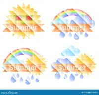 Hintergrund Mit Sonne, Wolken, Regenbogen Und Regen Vektor ...