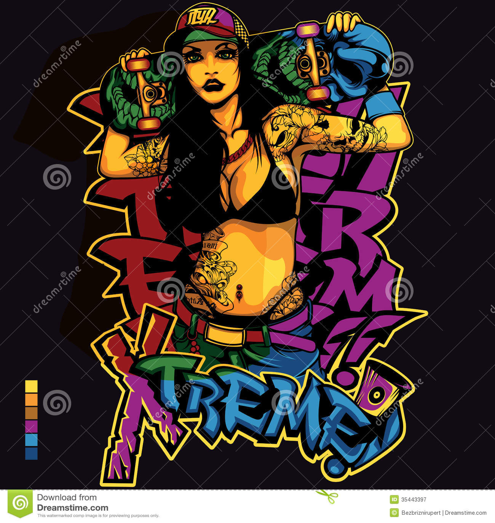 Biker Girl Wallpaper Free Download Hip Hop Girl Shirt Design Stock Illustration Illustration