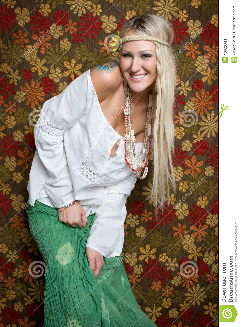 Young Girls Wallpaper Hippie Woman Stock Image Image Of Laughter Background