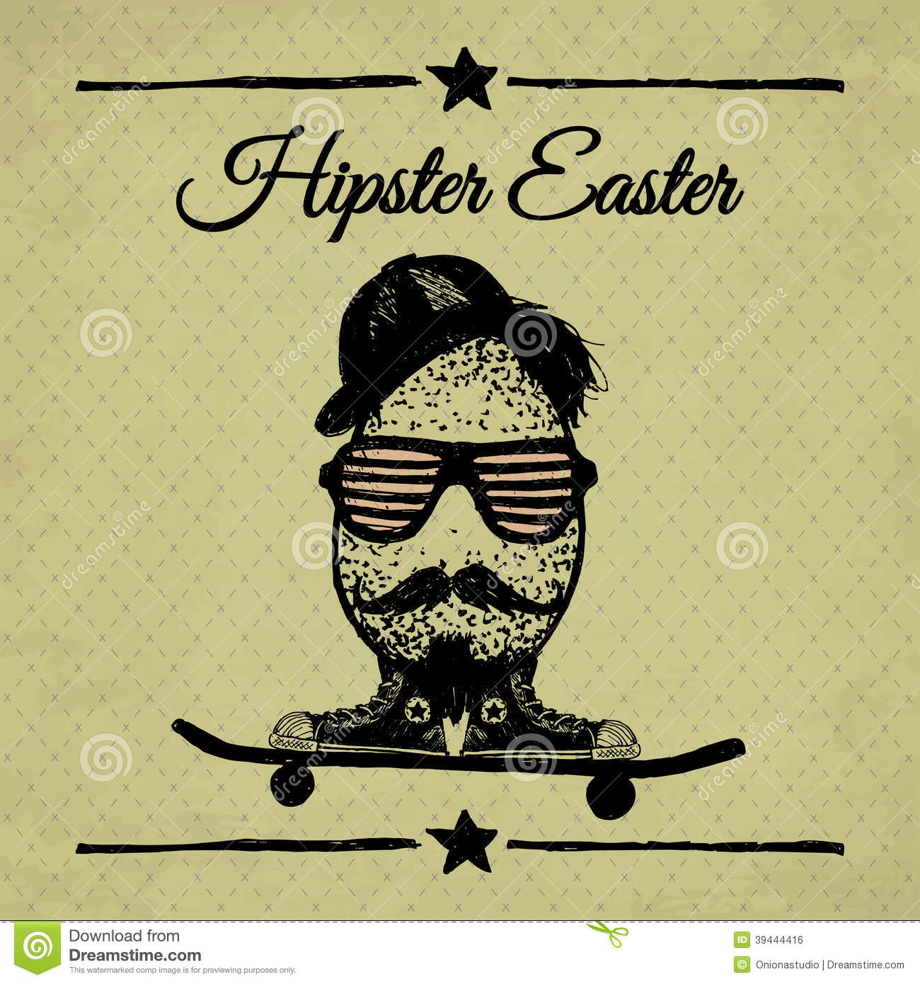 Cute Mustache Wallpaper Hipster Easter Vintage Poster With Egg On Skateboard