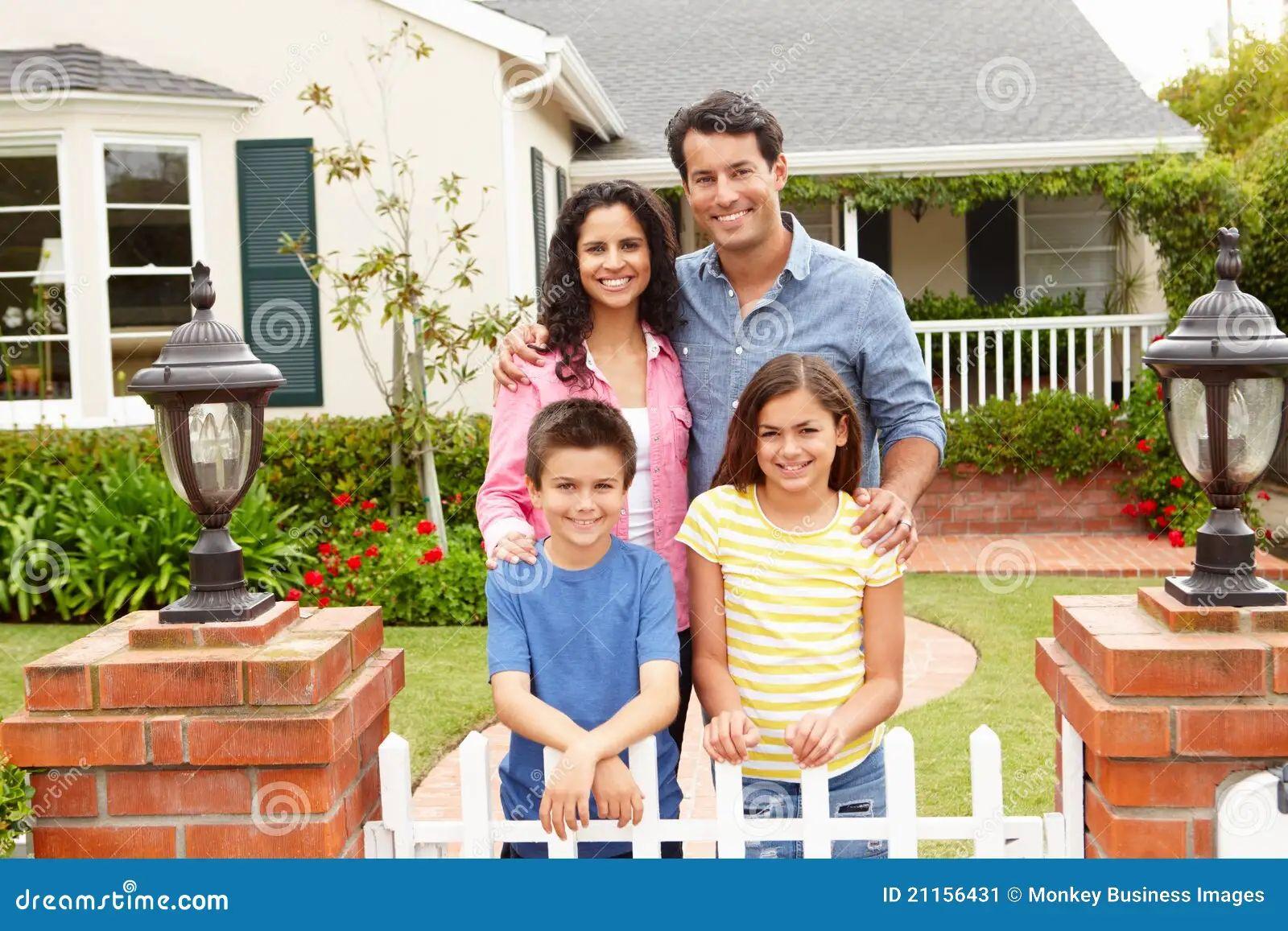 Hispanic family outside home stock image image 21156431