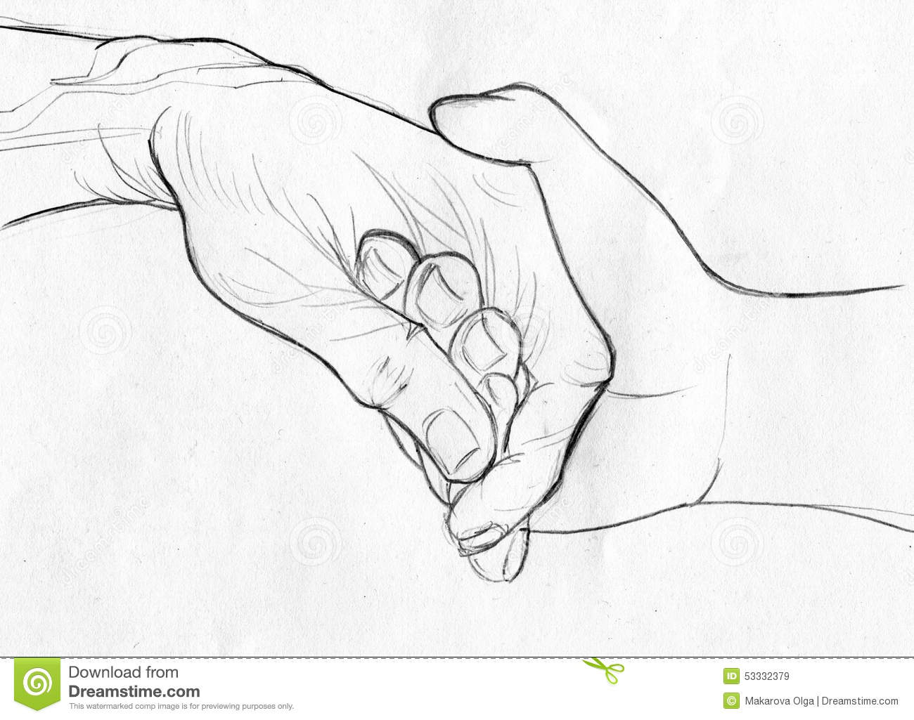 Cute Couples Holding Hands Wallpapers Holding Elderly Hand Pencil Sketch Stock Illustration