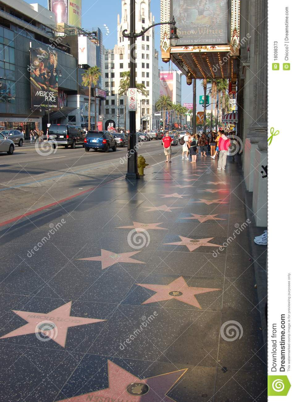 Stern Vektor Hollywood: View Of The Walk Of Fame Editorial Stock Photo