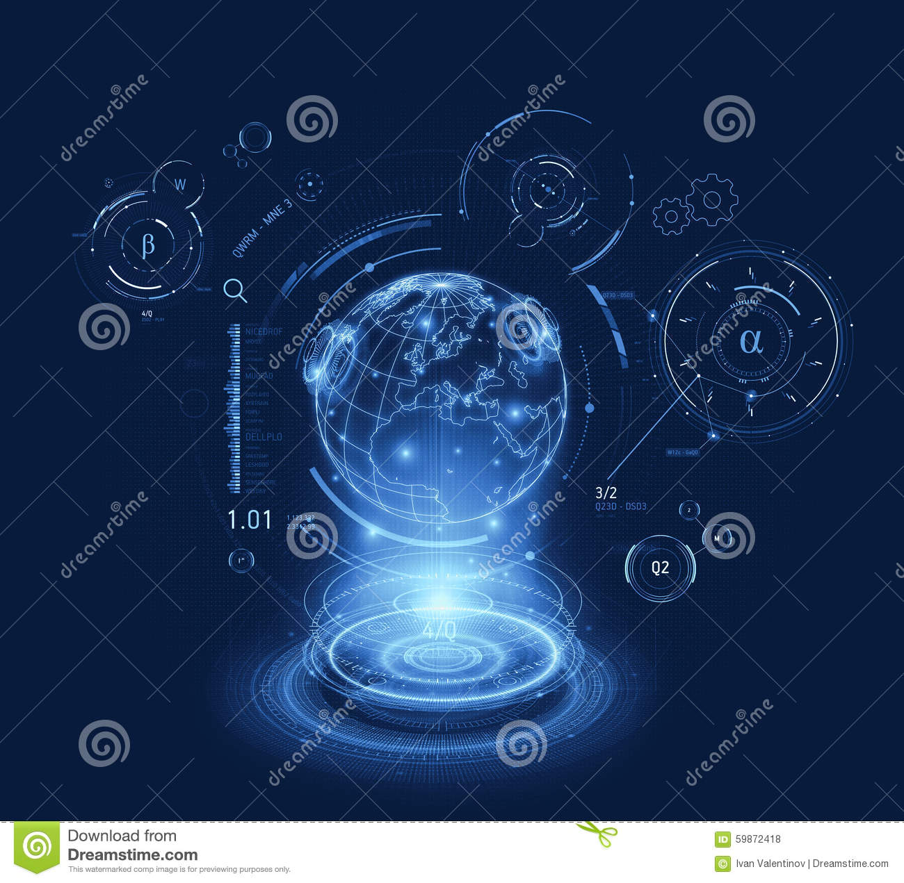 3d Hologram Effect Wallpaper Hologram World Hud Interface Stock Illustration Image