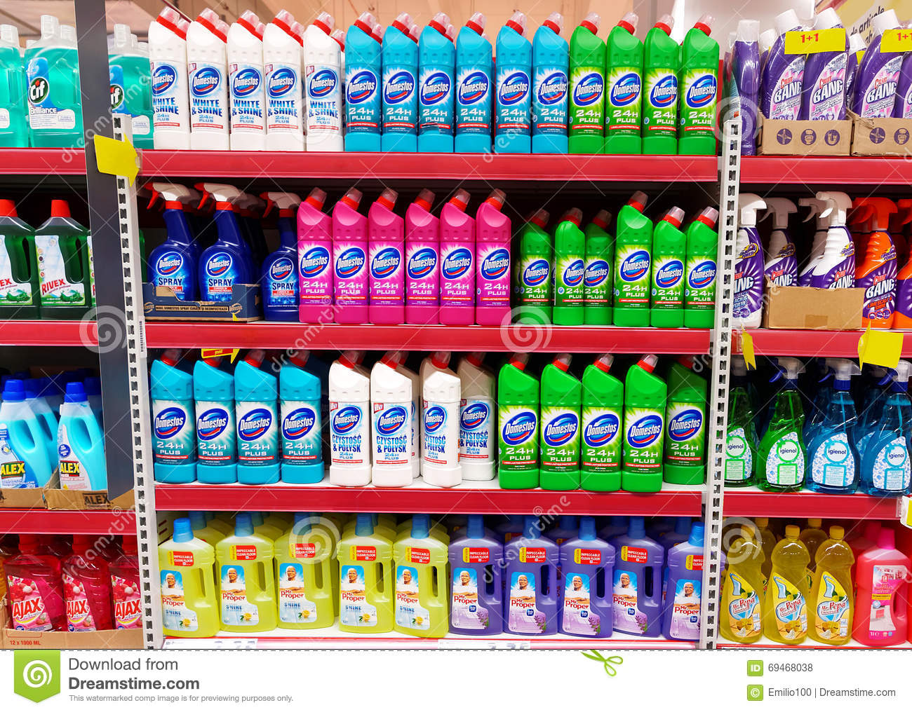 Waschmittel Clipart Home Cleaning Products Shelf In A Supermarket Editorial