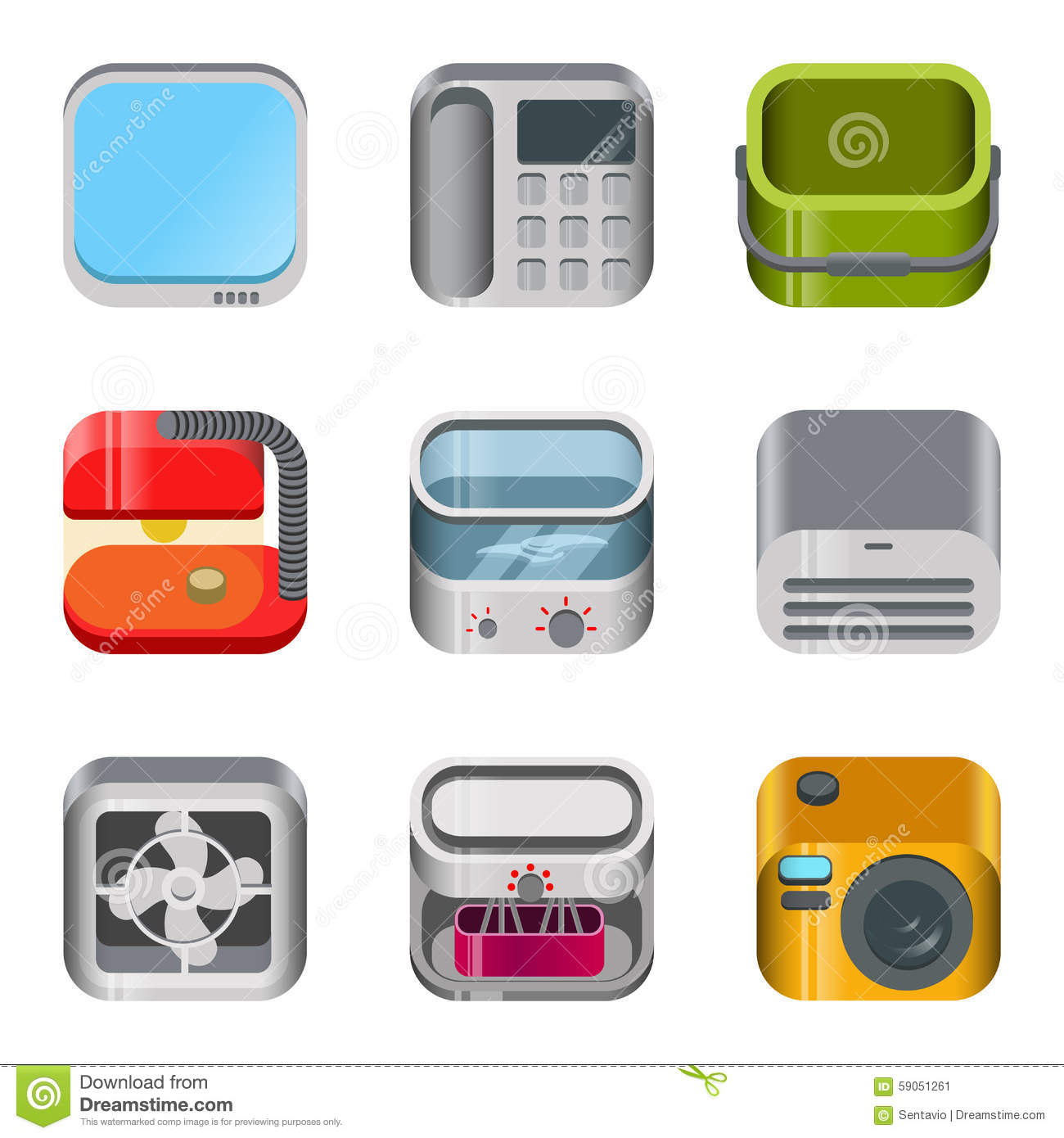 Modern Home Gadgets Glossy Icon Set Cartoon Vector Cartoondealer 13163421