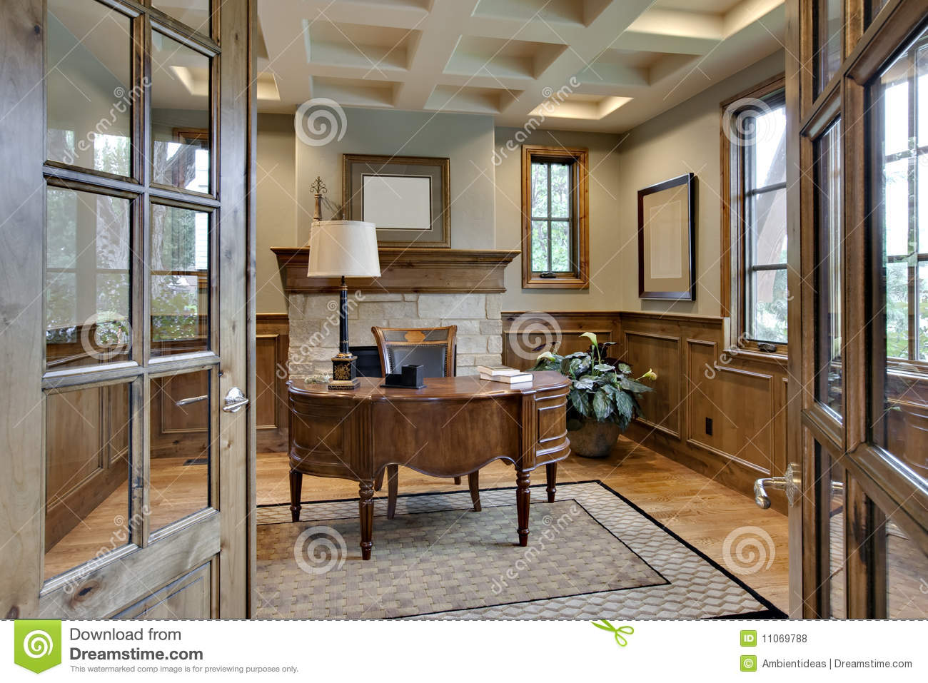 Elegant Wood Homes Home Office With Elegant Wood Trim Stock Photo Image Of
