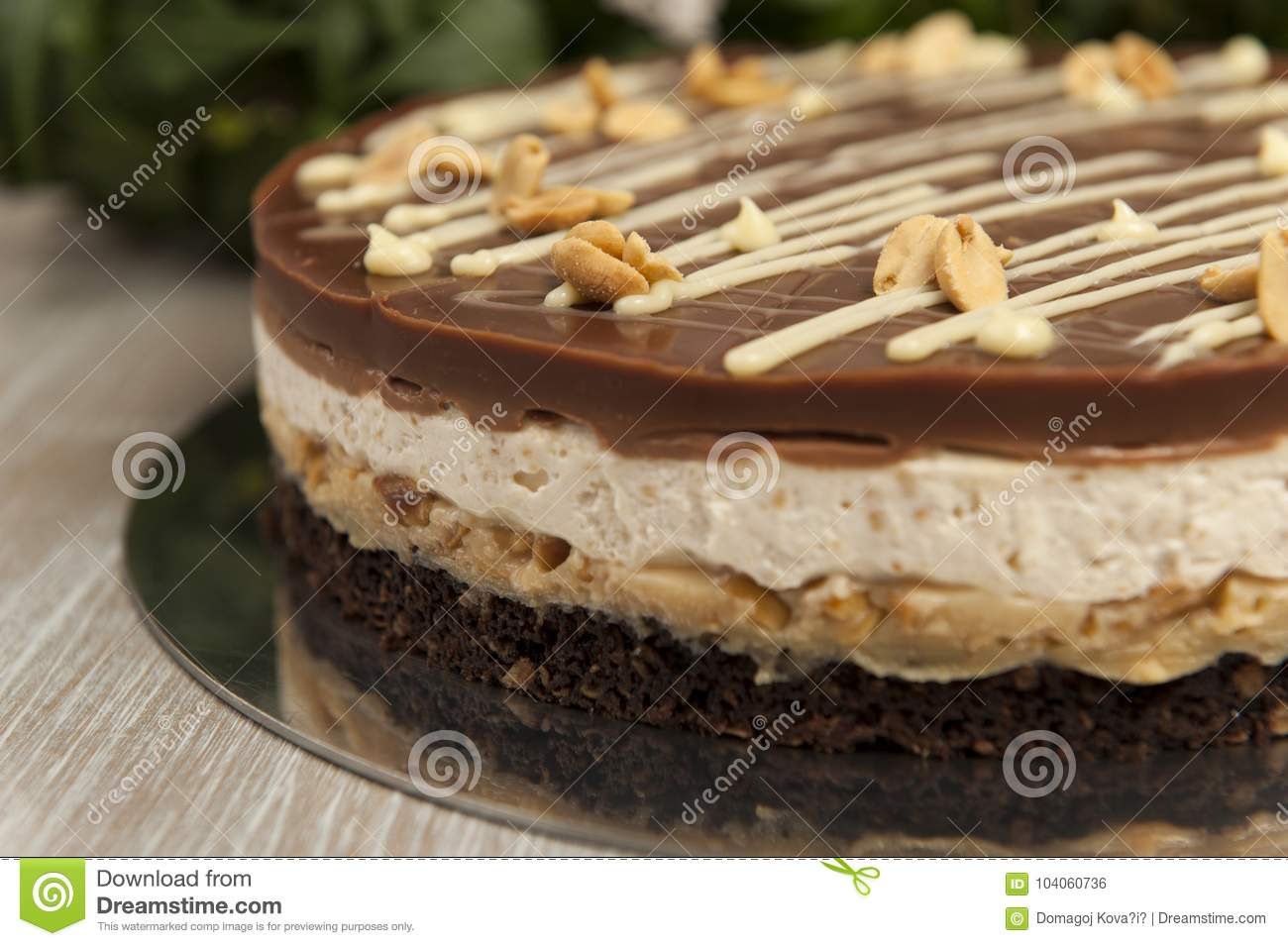 Snickers Kuchen Torte Chocolate Cake With Peanuts Snickers Cake Stock Photo Image Of