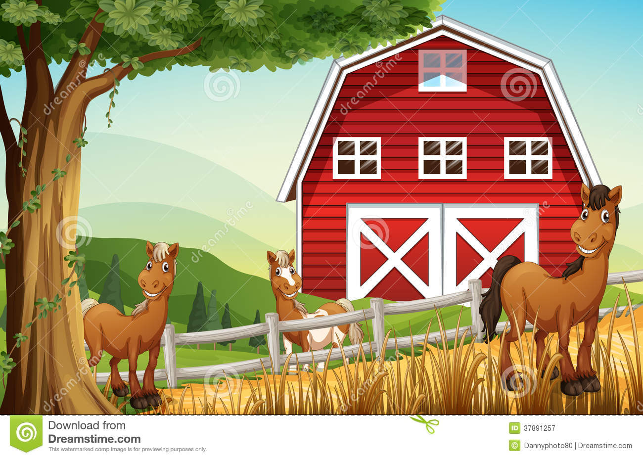 Red Farmhouse Drawing Horses At The Farm Near The Red Barnhouse Royalty Free