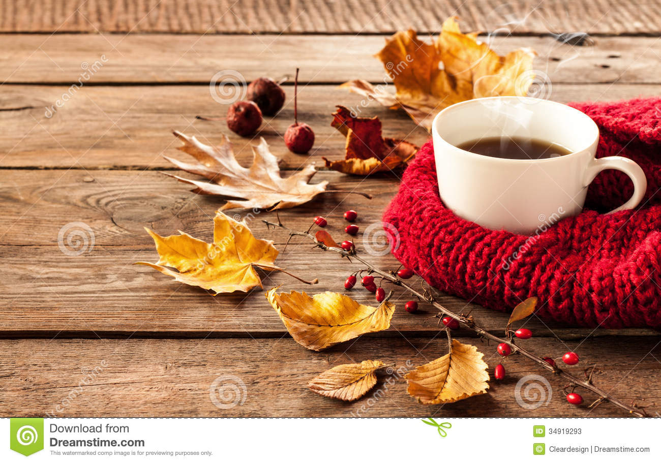 Free Animated Falling Leaves Wallpaper Hot Coffee And Autumn Leaves On Vintage Wood Background
