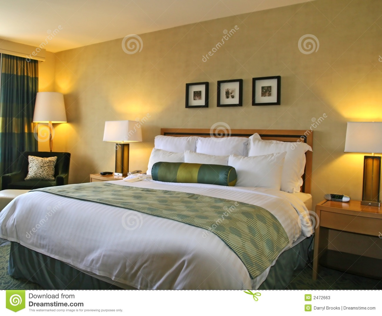 Lamp Light Hotel Bed Stock Image. Image Of Detail, Wall, Curtain