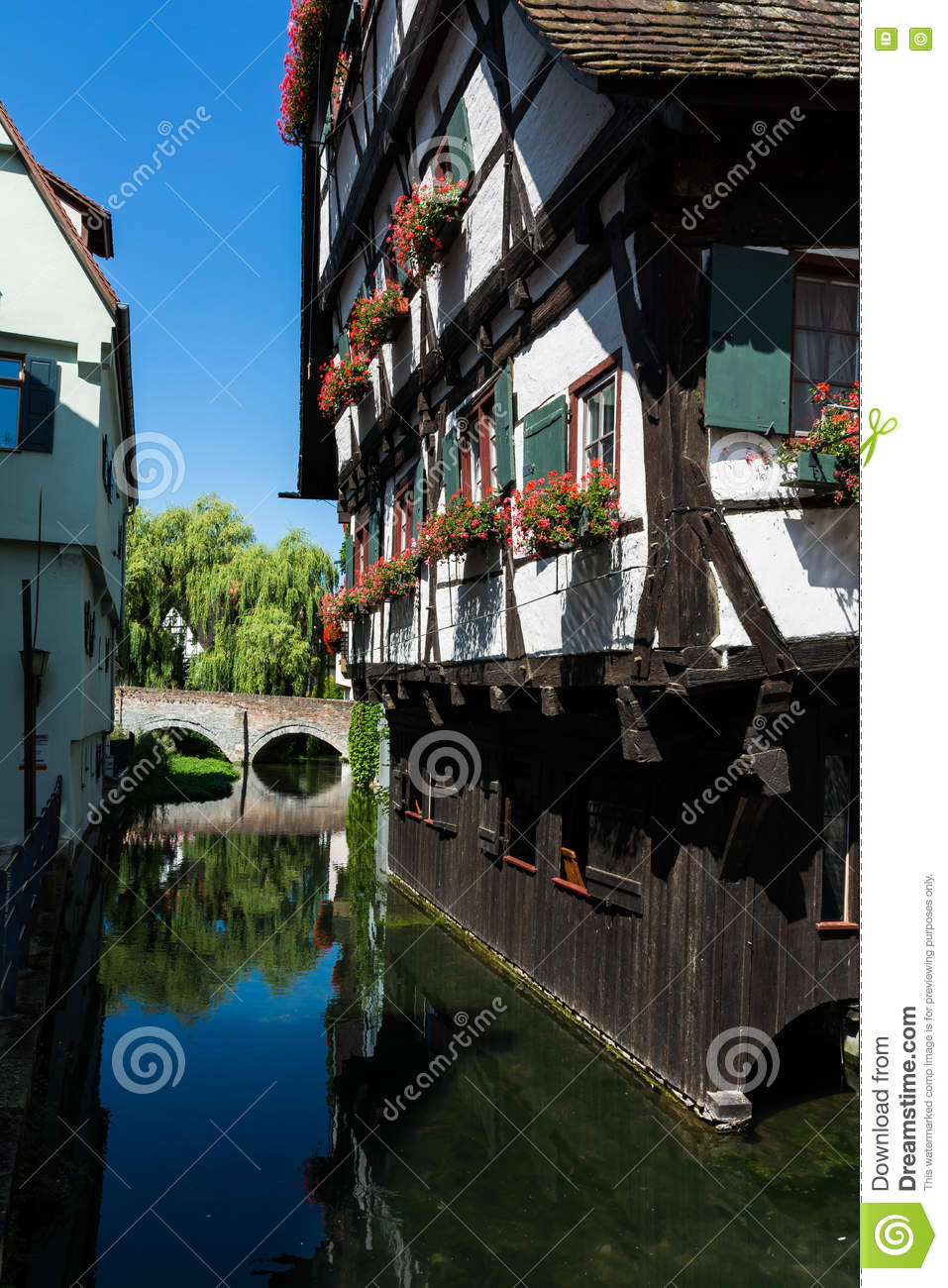 Cottage Haus Hotel Schiefes Haus Ulm Landmark Germany Cottage House Water Stock