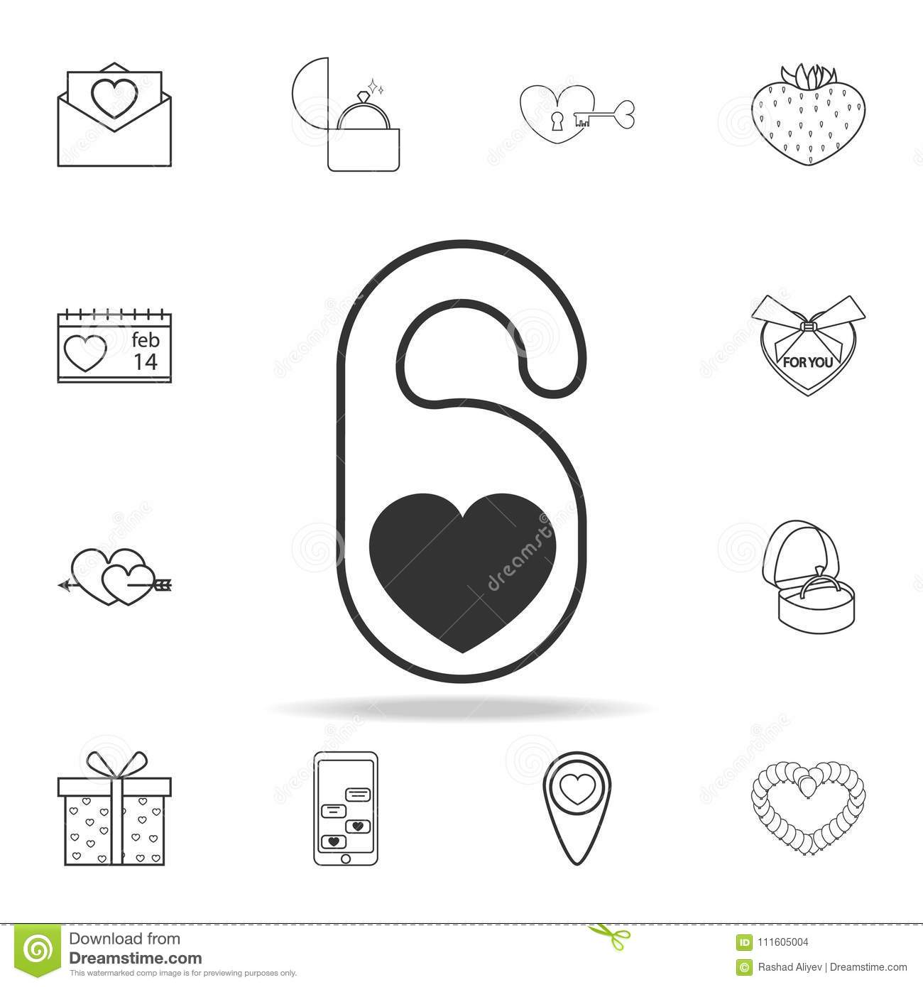 Lov Hotel Collection Hotel Tag With Heart Shape Icon Set Of Love Element Icons