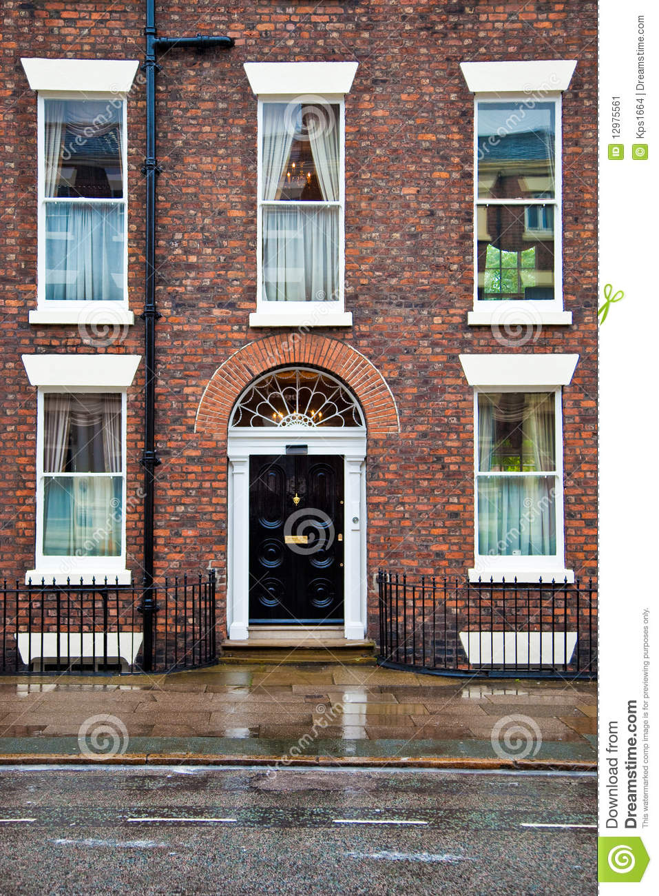 Plans For Building A New House House With Brick Facade And Doorway Stock Image - Image