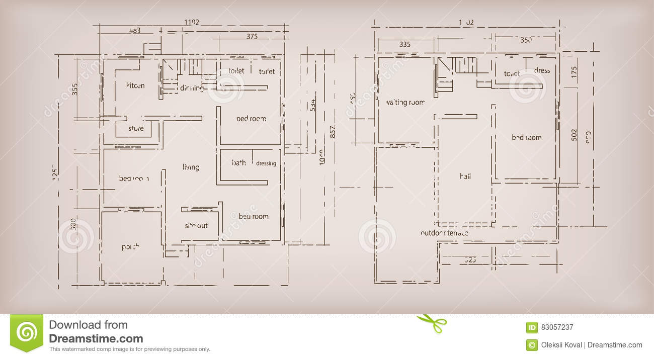House Plan Drawing House Building Structure Sketch Plan Drawing Vintage Background