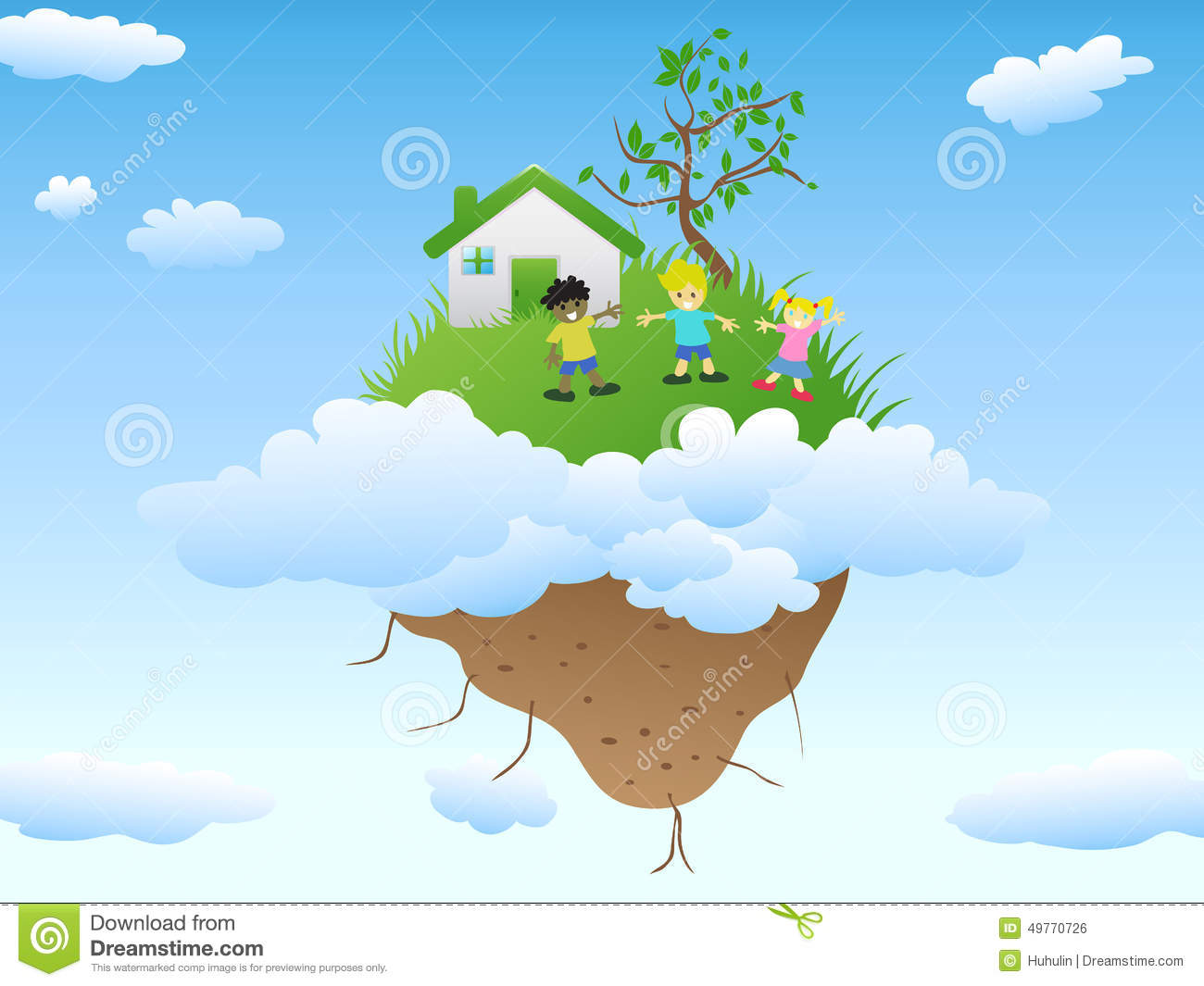 Boy And Girl Cartoon Wallpaper House On Floating Island Stock Vector Image Of Happy