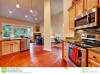 House Interior Open Floor Plan. Kitchen Area Stock Photo ...