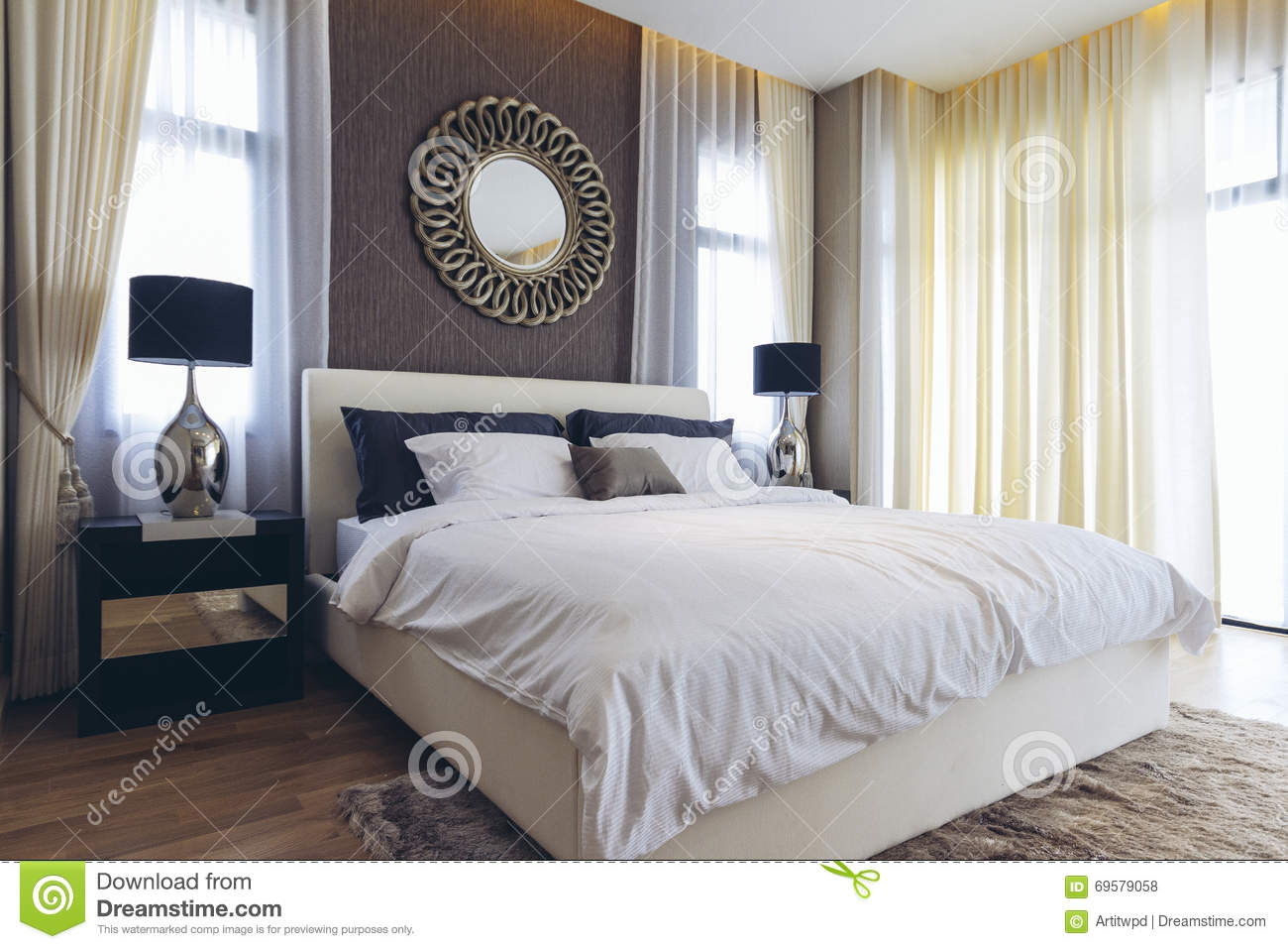 Chambre à Coucher Italienne Moderne House Modèle Moderne Italien Chambre à Coucher Photo Stock