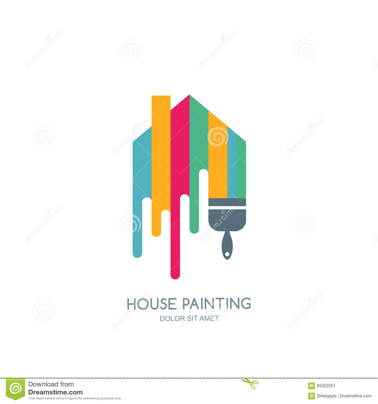 Decoration Logo House Painting Service Decor And Repair Multicolor Icon