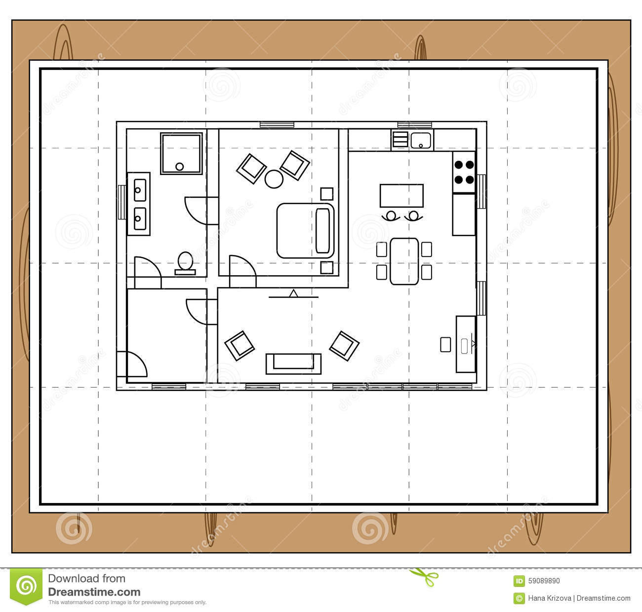 Drawing A Room Plan House Plan Stock Vector Image 59089890