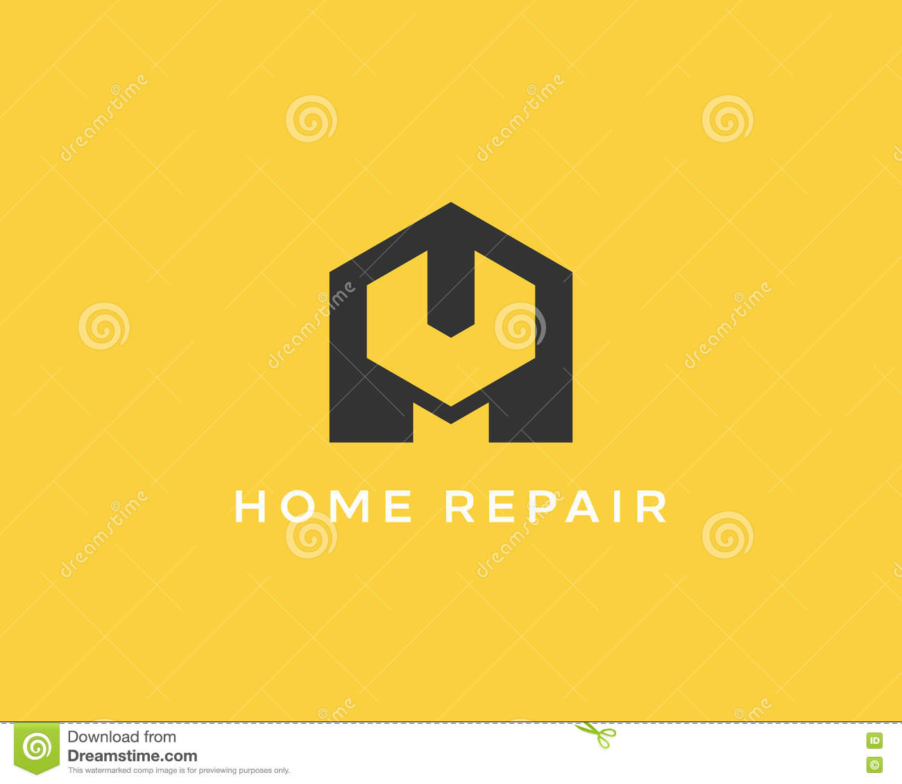 Creative Idea House Repair Service Tool Shop Sign Logotype Creative Idea Wrench