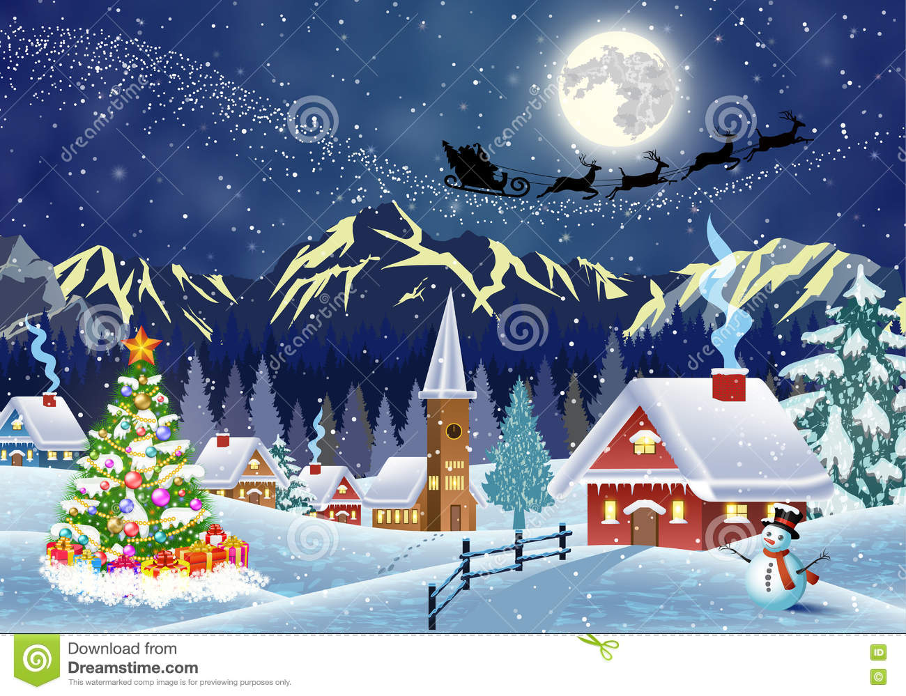 3d Snowy Cottage Animated Wallpaper Free Download House In Snowy Christmas Landscape At Night Stock Vector