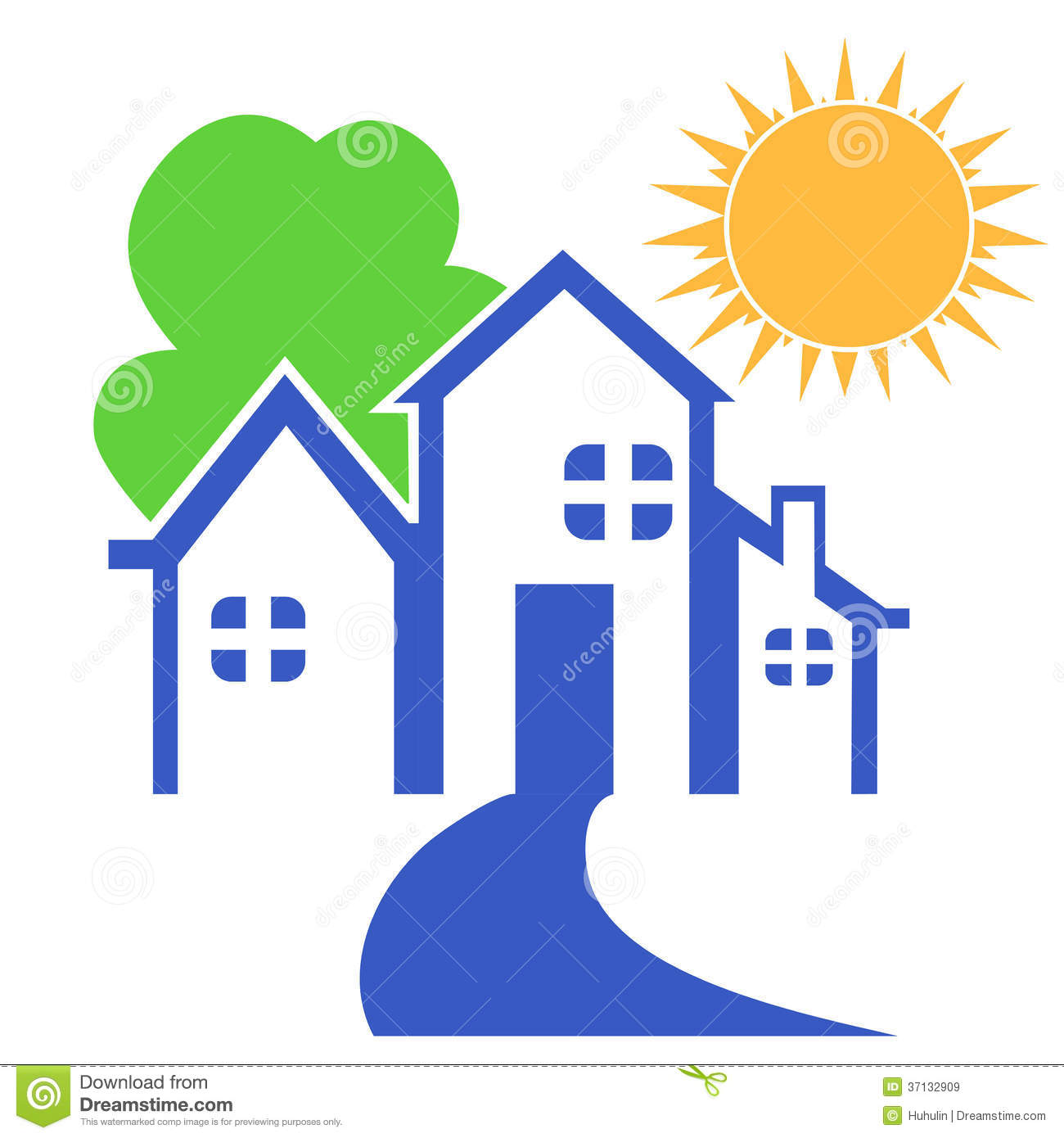 House With Tree And Sun Logo Royalty Free Stock Images Image 37132909 - Haus Logo