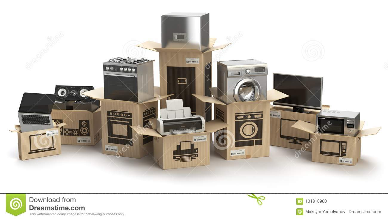 In Home Electronics Household Kitchen Appliances And Home Electronics In Boxes