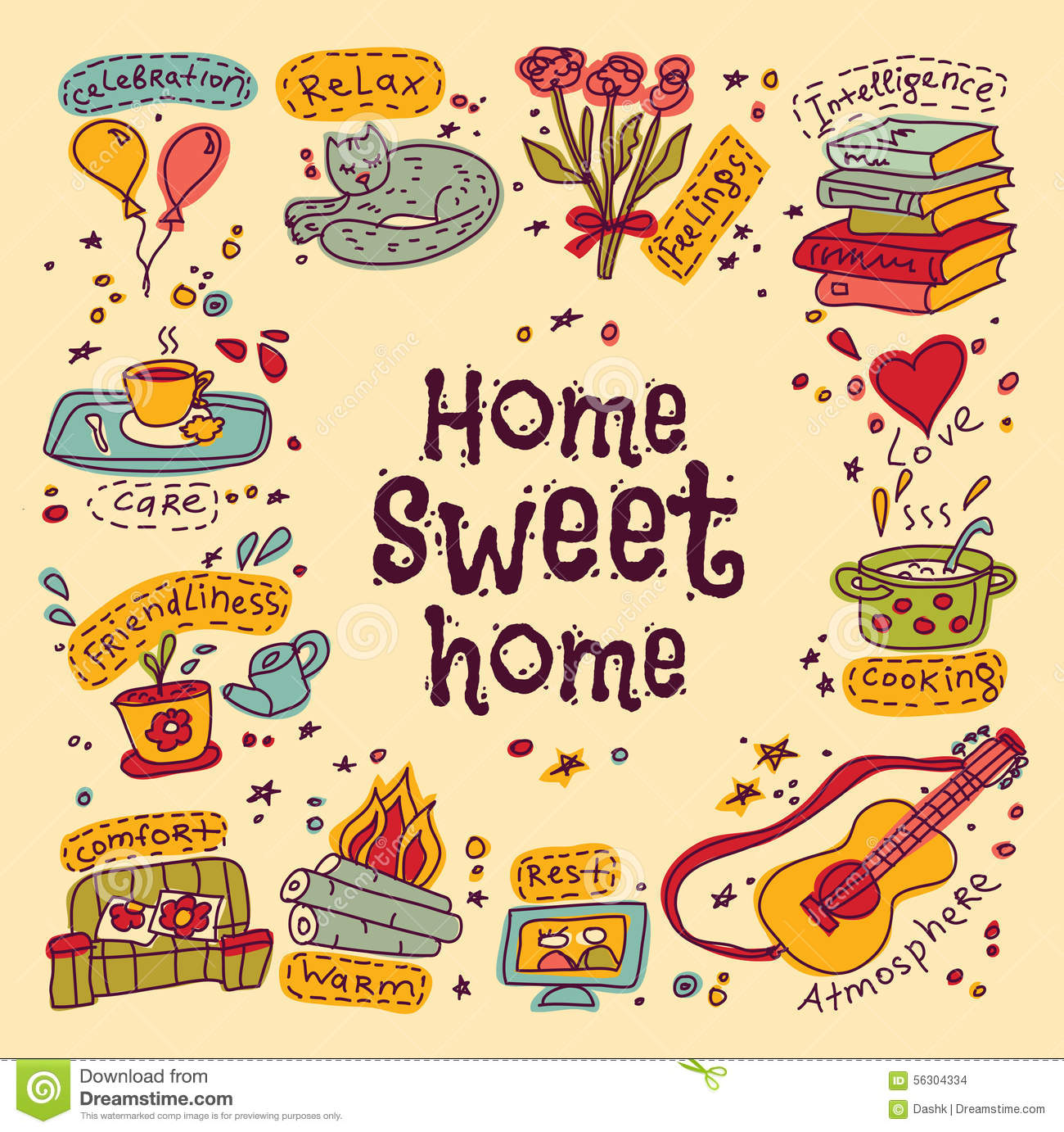Carte Cadeau Wish Housewarming Sweet Home Greeting Card Stock Vector