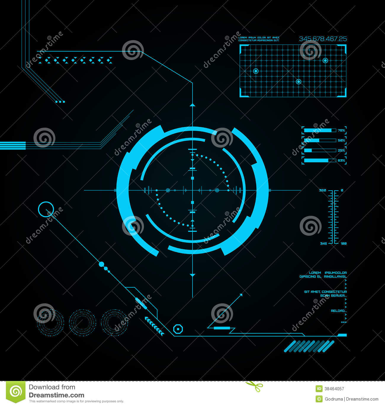 3d Hologram Wallpaper Gif Hud And Gui Set Futuristic User Interface Stock Vector