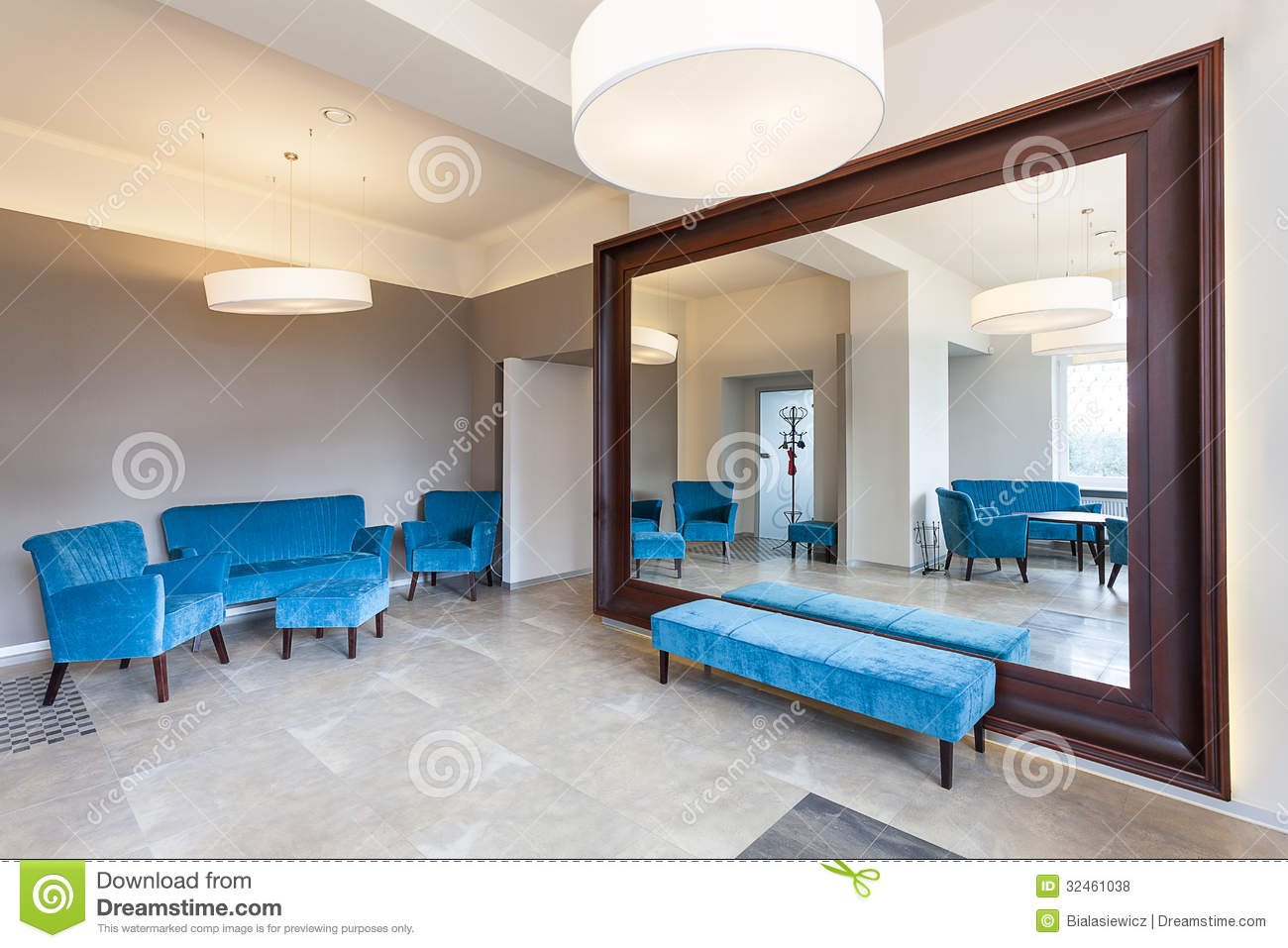 Huge Mirror Huge Mirror And Sofa Stock Photo Image Of Decor Armchair 32461038