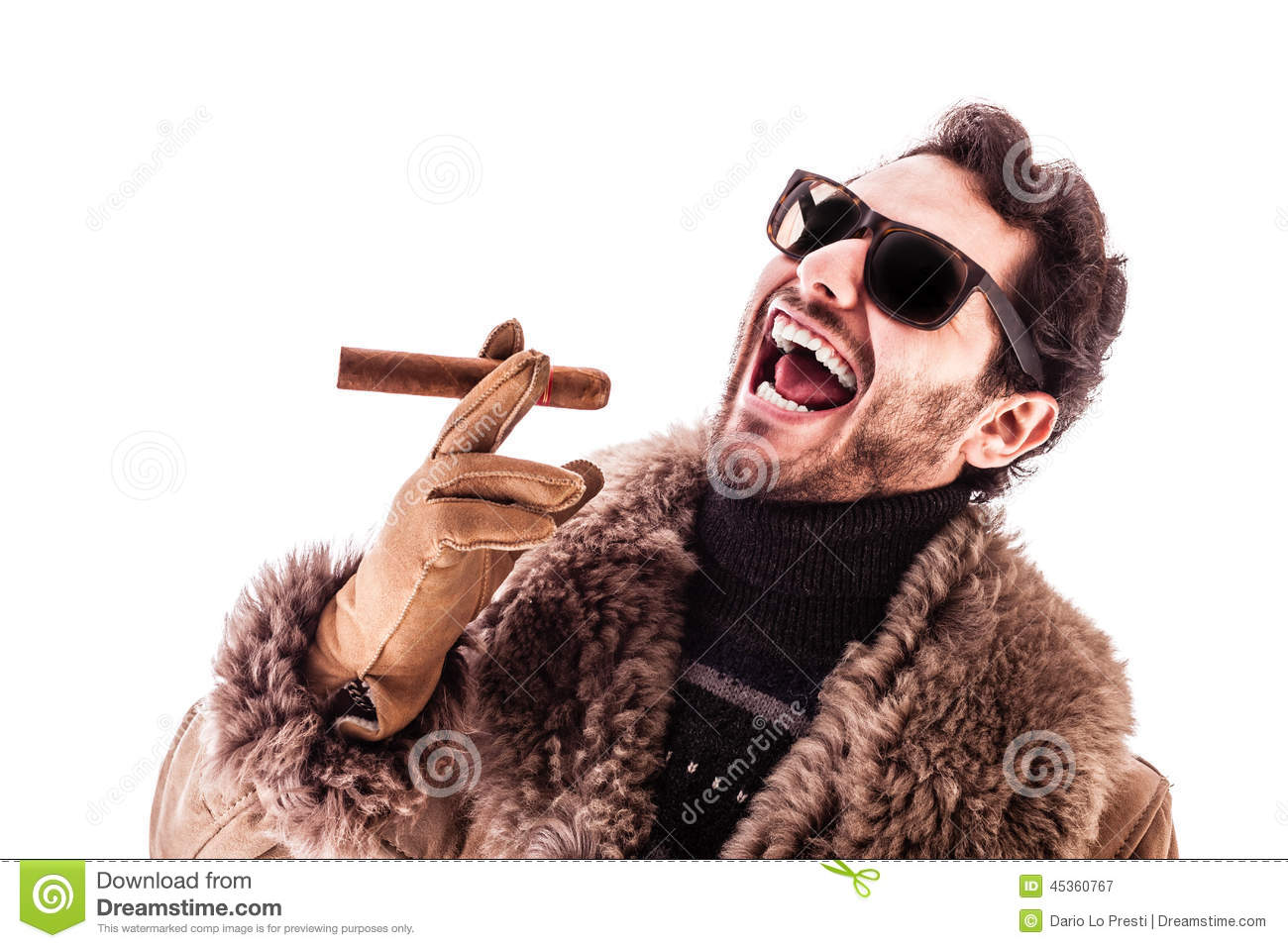 Sheepskin Hustler Stock Image. Image Of Criminal, Laugh, Holding
