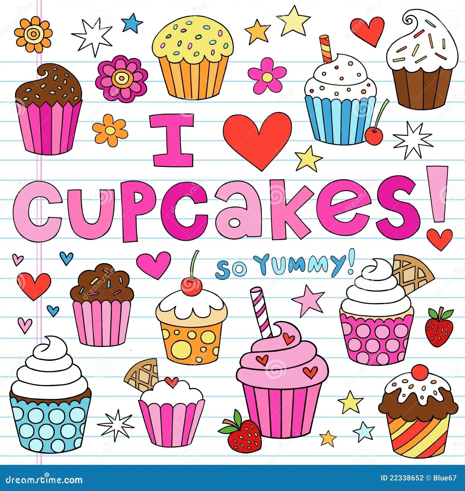 Emoji Wallpaper Quotes I Love Cupcakes Notebook Doodles Vector Elements Stock