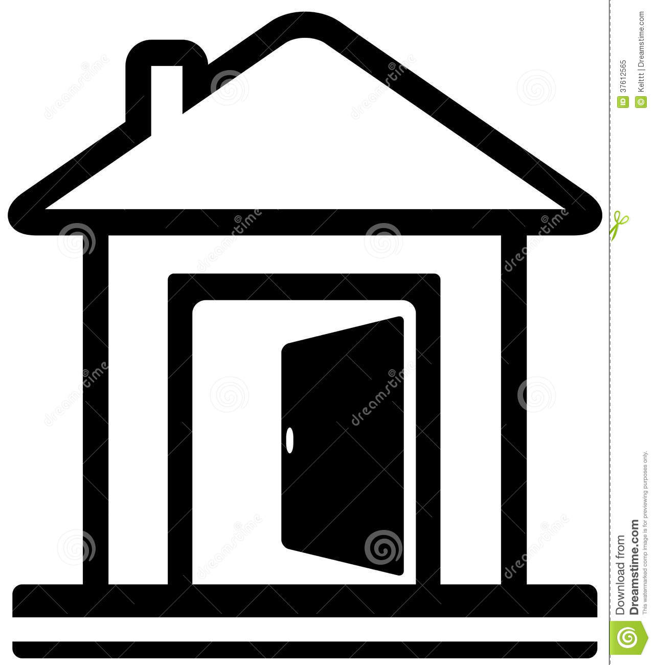 Icon Haus Icon With House And Open Door Stock Vector Illustration Of Open