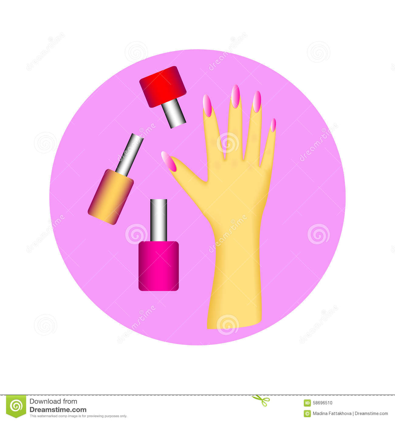 3d Wallpaper Of Madina Icon Set Of Nail Polish And Hand With Manicure In Circle