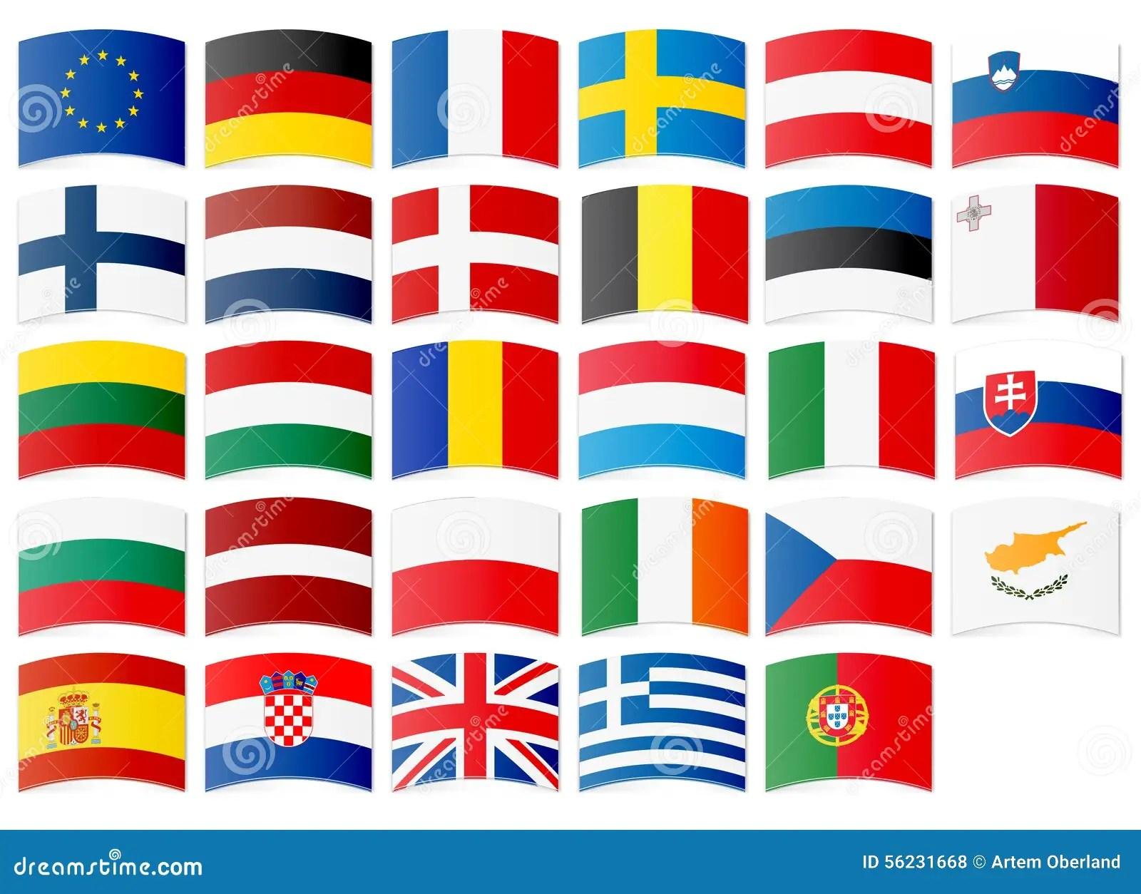 Icone Delle Bandiere Dell Unione Europea Illustrazione