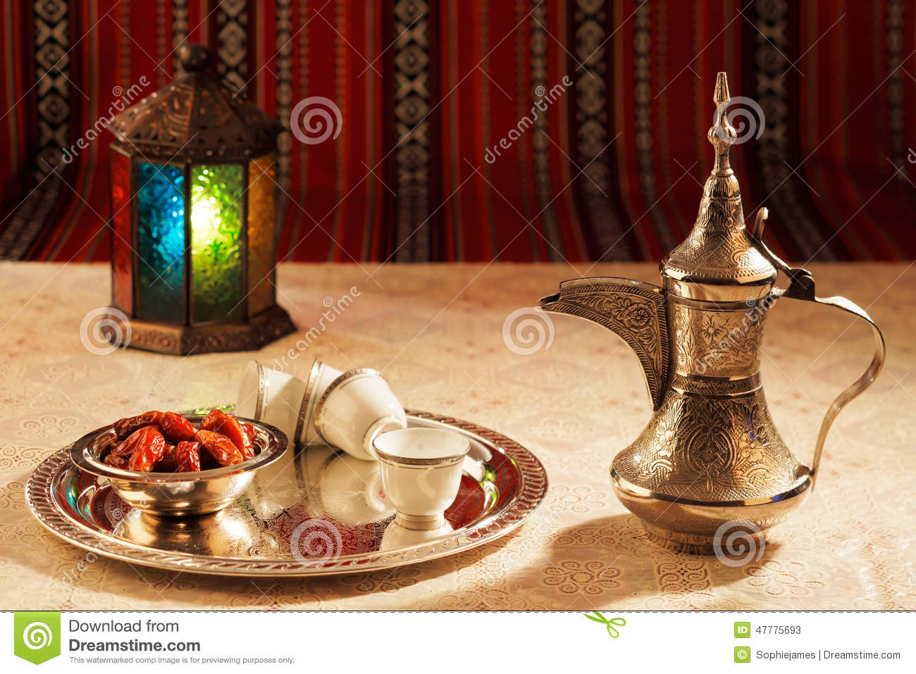 Arabica Tea Coffee Zeist Iconic Abrian Fabric Tea And Dates Symbolise Arabian