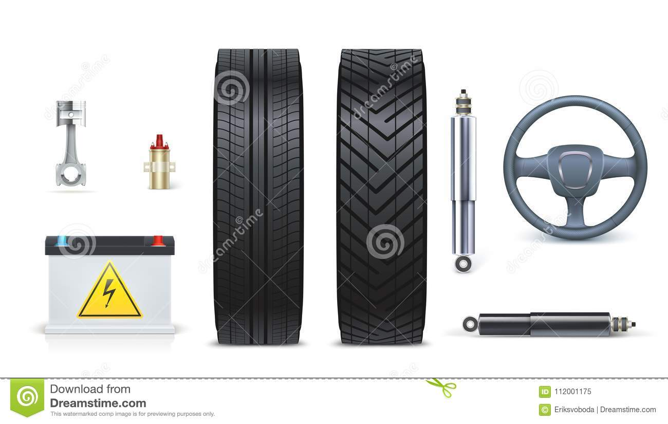 Accessories For Garage Icons Of Car Parts For Garage Auto Car Services Various Car