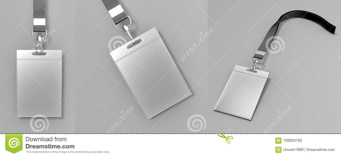 Identification Blank Empty Plastic Id Cards Set With Clasp And