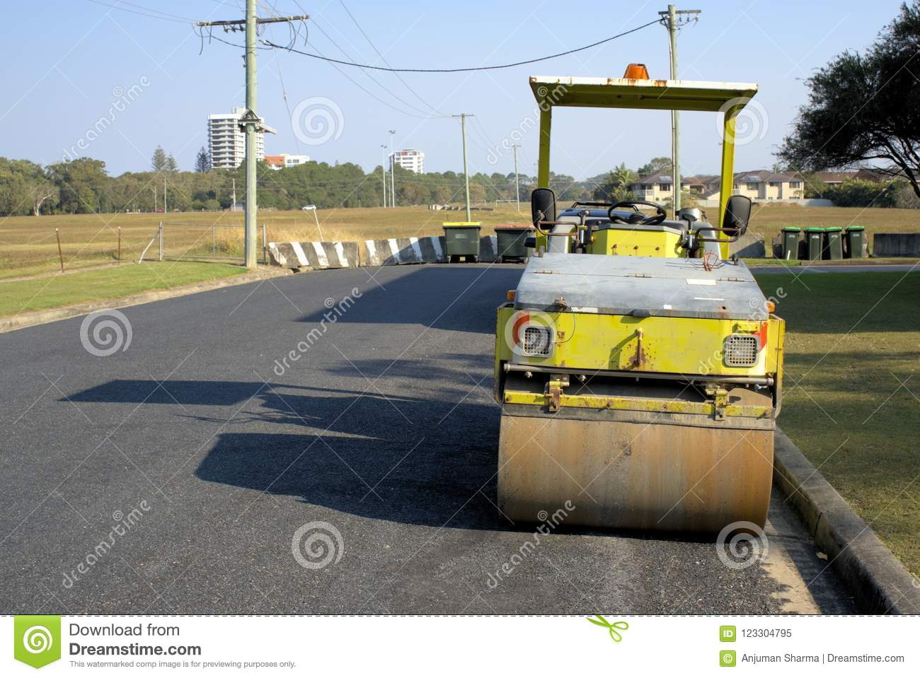 Roller Australia Idle Road Work Machine In Australia Stock Image Image Of Tandem