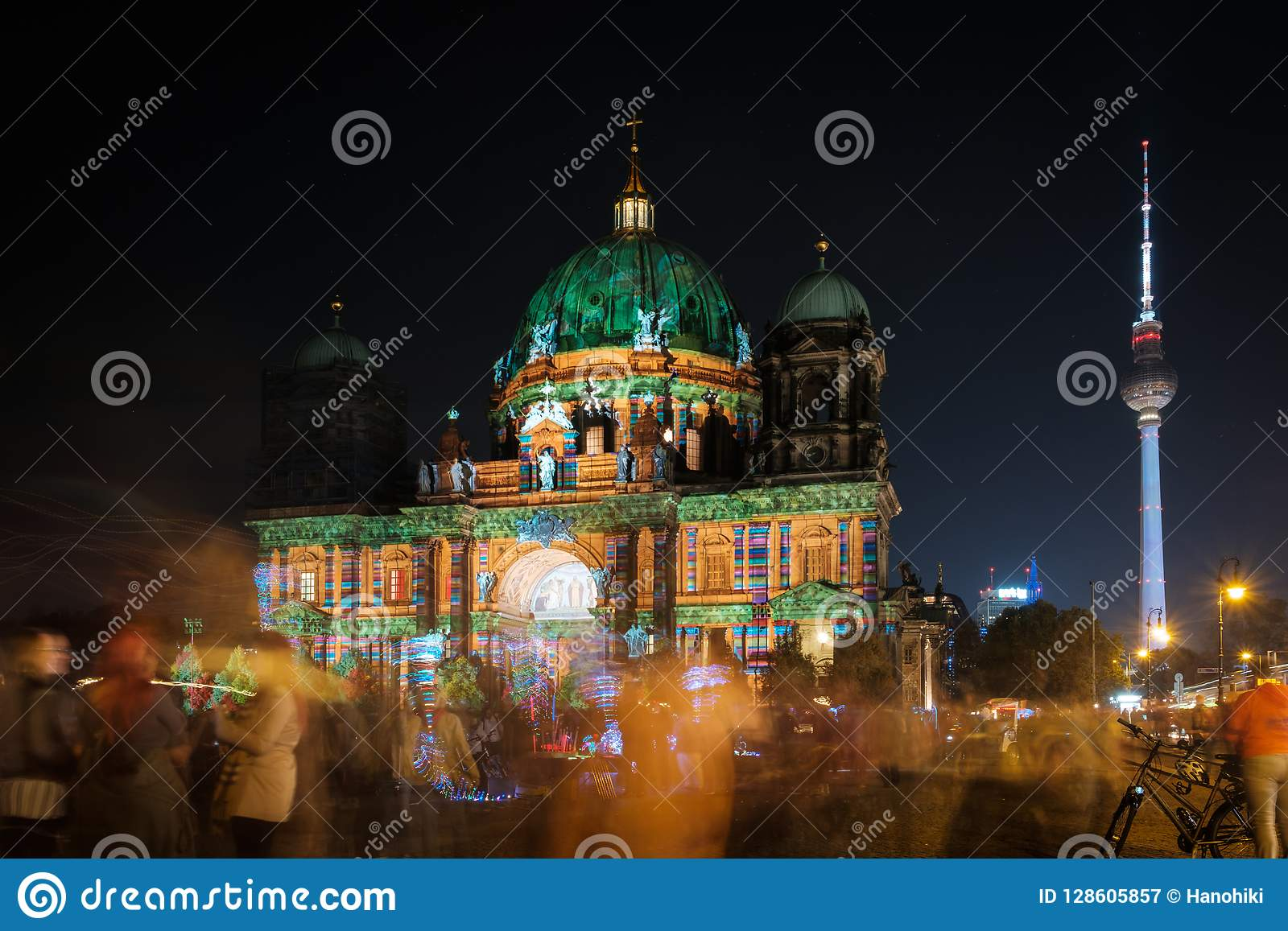Illuminated Landmark Berlin Cathedral Berliner Dom At Night Editorial Photography Image Of Celebration Colorful 128605857