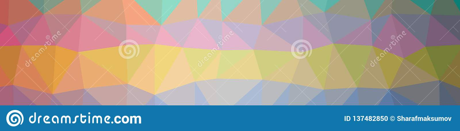 Illustration Of Abstract Orange Banner Low Poly Background - Facet Design Pattern
